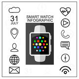Smart Watch with Outline App Icons Set. Modern Design Concept. Vector Illustration. Flat Style. Royalty Free Stock Image