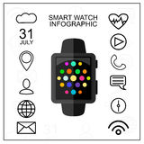 Smart Watch with Outline App Icons Set. Modern Design Concept. Vector Illustration. Flat Style. Stock Photos