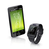 Smart Watch With Phone Realistic Composition Royalty Free Stock Photography