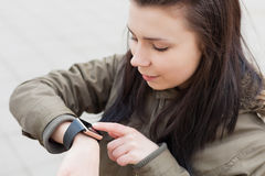 Smart watch in real life Royalty Free Stock Photo