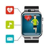 Smart watch runner heart rate technology healthy Stock Photo