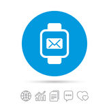 Smart watch sign icon. Wrist digital watch. Mail message chat symbol. Copy files, chat speech bubble and chart web icons. Vector Stock Images