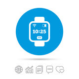 Smart watch sign icon. Wrist digital watch. Wi-fi and battery energy symbol. Copy files, chat speech bubble and chart web icons. Vector Stock Photography