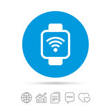 Smart watch sign icon. Wrist digital watch. Wi-fi internet symbol. Copy files, chat speech bubble and chart web icons. Vector Royalty Free Stock Image