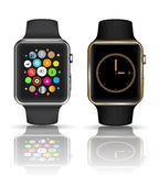 Smart watch silver and gold color.