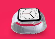Apple Watch 4 white ceramic fictional rumor smartwatch, mockup. Smart watch similar to Apple Watch 4, 44 mm, white ceramic, cellular. Detailed close-up lateral stock illustration