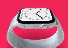 Apple Watch 4 white ceramic fictional rumor smartwatch, mockup. Smart watch similar to Apple Watch 4, 44 mm, white ceramic, cellular. Detailed close-up lateral royalty free illustration