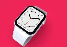 Apple Watch 4 white ceramic fictional rumor smartwatch, mockup. Smart watch similar to Apple Watch 4, 44 mm, white ceramic, cellular. Detailed close-up top royalty free illustration
