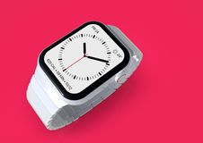 Apple Watch 4 white ceramic fictional rumor smartwatch, mockup. Smart watch similar to Apple Watch 4, 44 mm, white ceramic, cellular. Detailed top perspective on vector illustration