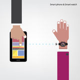 Smart watch and smart phoneon background with internets connecti Royalty Free Stock Images