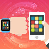 Smart Watch and Smartphone Synchro concept with mobile apps icons Stock Photo