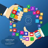 Smart watch synchro poster Royalty Free Stock Photos