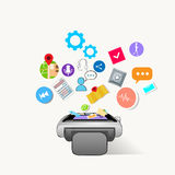 Smart Watch Technology Electronic Device Apps Icons Set Collection Stock Photos