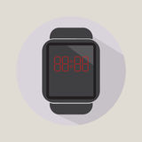 Smart watch time hour modern technology electronics application simple flat icon logo Stock Image
