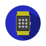 Smart watch time hour modern technology electronics application simple flat icon logo Royalty Free Stock Image