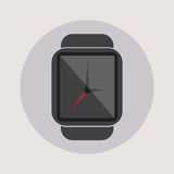 Smart watch time hour modern technology electronics application simple flat icon logo Stock Images