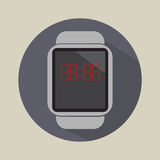 Smart watch time hour modern technology electronics application simple flat icon logo Royalty Free Stock Photography