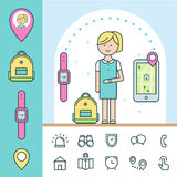 Smart Watch and Tracker for Children. Infographics Elements. Vector Design Stock Photography