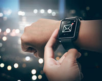 Smart watch with unread message icon Royalty Free Stock Photo
