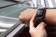 Smart watch with unread message icon Stock Photos