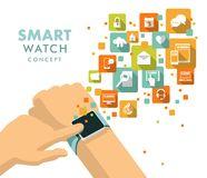 Smart watch using concept. Man hand with modern smart watch and apps icons Royalty Free Stock Photography