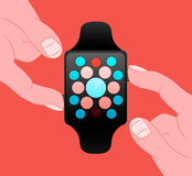 Smart Watch, Vector Flat design Royalty Free Stock Photos