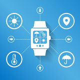 Smart watch wearable device. For weather concept Stock Images