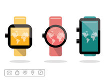 Smart watch or wearable on hand device set with feature icons set. Stock Photos