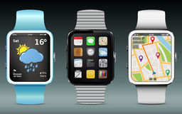 Smart Watches. With app icons, weather and GPS navigation widgets Royalty Free Stock Photo