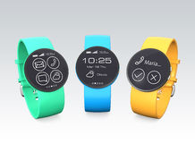 Smart watches with colorful watch bands stock illustration