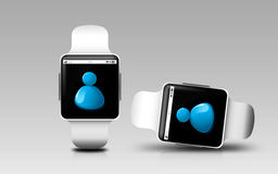 Smart watches with contact icon on screen Stock Image