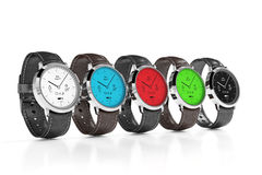Smart watches with different interfaces color Stock Images