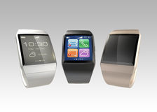 Smart watches on gradient background. Royalty Free Stock Images