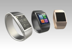 Smart watches on gradient background. Clipping path included Royalty Free Stock Photos