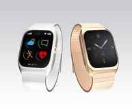 Smart watches on gray background Royalty Free Stock Photos