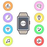Smart watches icons outline isolated vector set. royalty free illustration