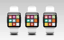 Smart watches with menu icons on screen Royalty Free Stock Photos