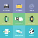 Smart wearable devices flat icons set stock illustration