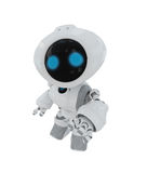 Smart white toy. Cute little robotic friend stretch his hand to you Royalty Free Stock Image