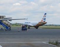Smart Wings Airbus A320, der in Ostrava mit einem Taxi fährt Lizenzfreies Stockbild
