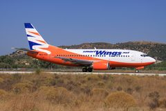 Smart Wings. Zakynthos/Greece August 3, 2015: Boeing 737 from Smart Wings at Zakynthos Airport Stock Photos