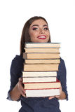 Smart woman with books Royalty Free Stock Photography