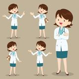 Smart Woman Doctor Presenting In Various Action Stock Image