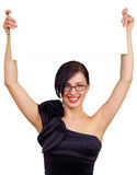 Smart woman holding board, isolated Royalty Free Stock Photos