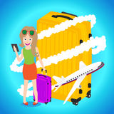 Smart woman holding tablet with luggage airplane flying around big baggage Stock Photos