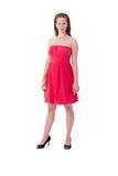Smart woman in pink dress Royalty Free Stock Photo