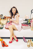 Smart woman in a place full of fashion accessories Stock Photo