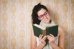 Smart woman reading book Royalty Free Stock Photo