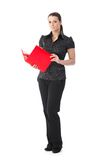 Smart woman with red folder stock image