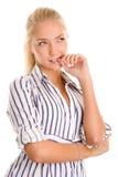 Smart woman thinking Stock Photo